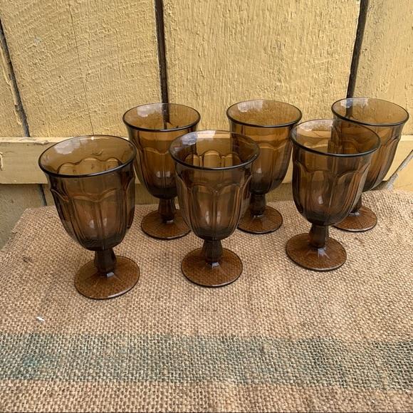 Vintage Smokey Quart Set Drinking Glasses Wedding